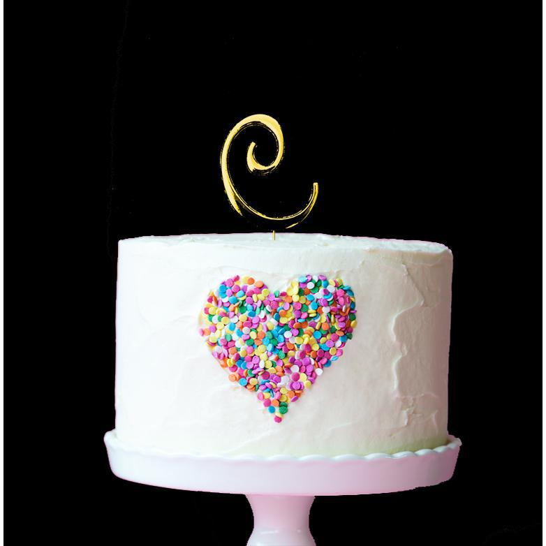 Gold Cake Topper 7cm Letter C Celebrating Party Hire Party