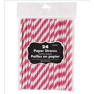 Bright Pink Paper Straws