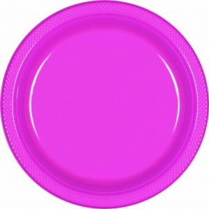 Bright Pink Plastic Snack Plates