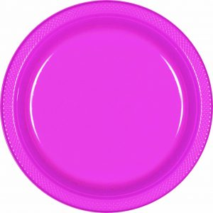 Bright Pink Plastic Dinner Plates