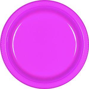 Bright Pink Plastic Banquet Plates