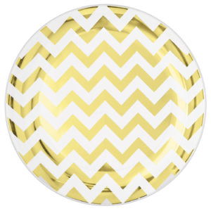 Premium Chevron Gold Dinner Plates