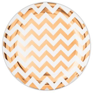 Premium Chevron Rose Gold Dinner Plates