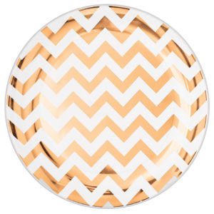 Premium Chevron Rose Gold Snack Plates