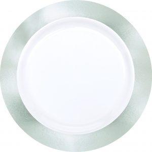 Premium Silver and White Dinner Plates