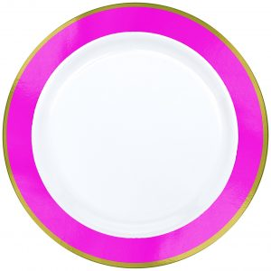 Premium Bright Pink and White Dinner Plates