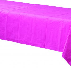 Bright Pink Plastic Rectangular Tablecover