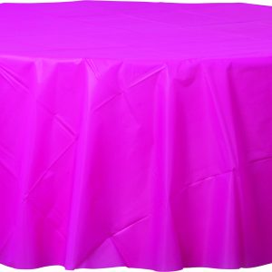 Bright Pink Plastic Round Tablecover