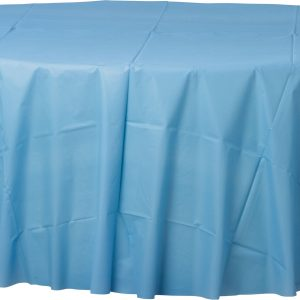 Pastel Blue Plastic Round Tablecover