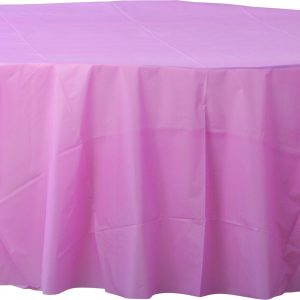 Pink Plastic Round Tablecover