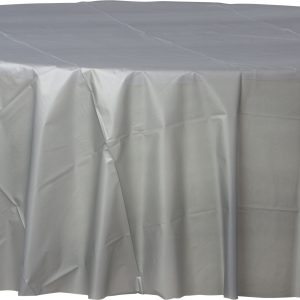 Silver Plastic Round Tablecover