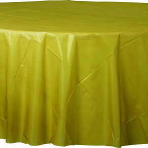 Gold Plastic Round Tablecover