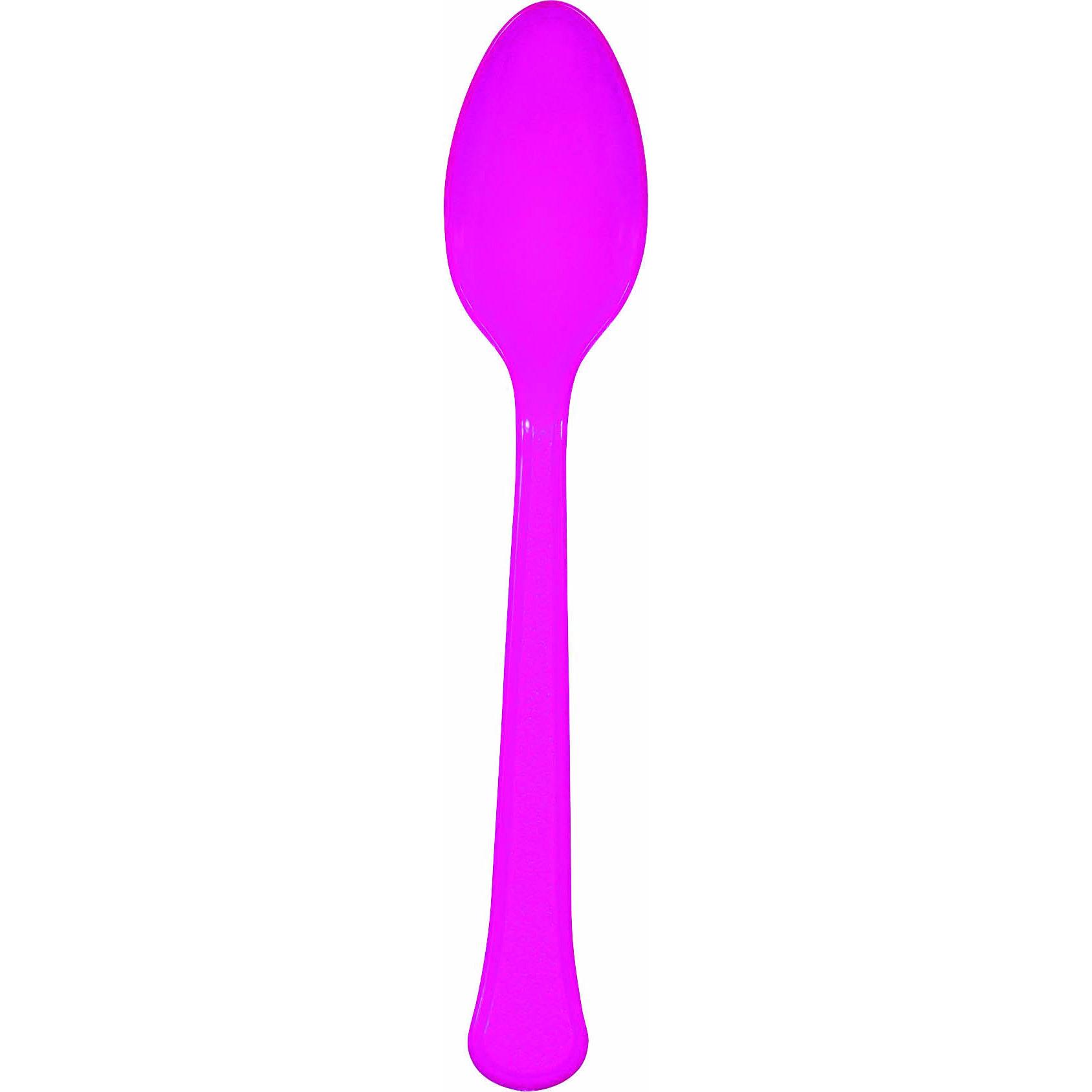 Bright Pink Plastic Spoons