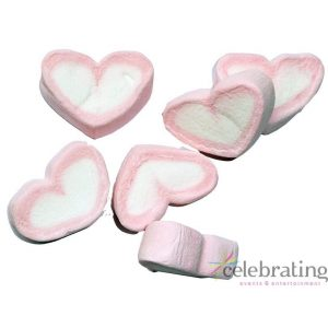 Large Pink and White Heart Marshmallows 1kg
