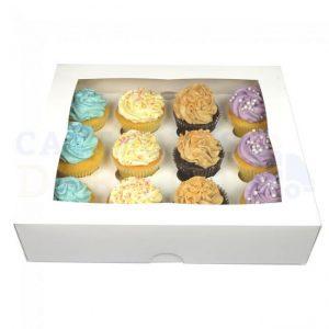 12 Hole White Cupcake Box