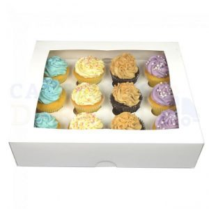 12 Hole White Cupcake Box - Bulk 10 Pack
