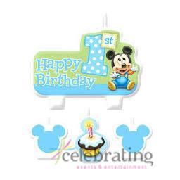 Mickey Mouse 1st Birthday Party Candles 4pk