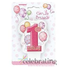 Pink 1st Birthday Candle with Balloons