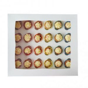 24 Hole White Mini Cupcake Box - Bulk 10 Pack
