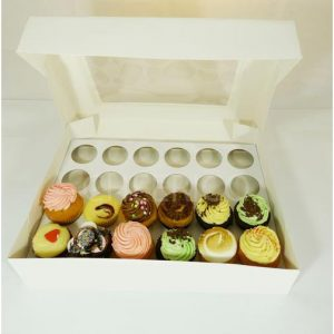 24 Hole White Cupcake Box