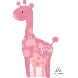 Baby Girl Giraffe Foil Balloon