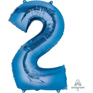 2 Blue Jumbo Foil Balloon
