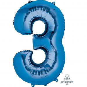 3 Blue Jumbo Foil Balloon