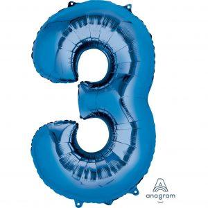3 Blue Jumbo Foil Balloon