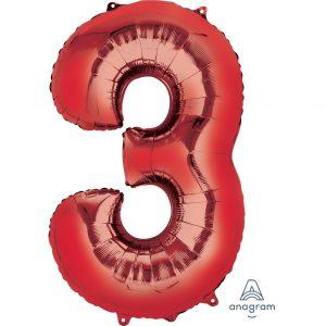 3 Red Jumbo Foil Balloon