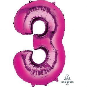 3 Pink Jumbo Foil Balloon