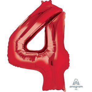 4 Red Jumbo Foil Balloon
