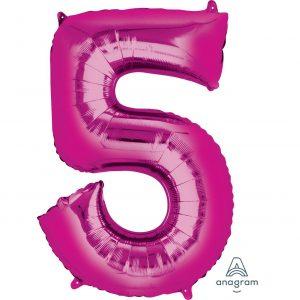 5 Pink Jumbo Foil Balloon