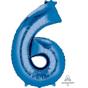 6 Blue Jumbo Foil Balloon