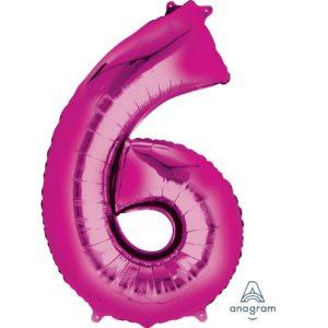 6 Pink Jumbo Foil Balloon