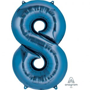 8 Blue Jumbo Foil Balloon