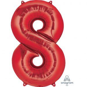 8 Red Jumbo Foil Balloon