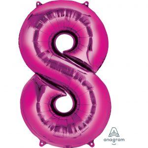 8 Pink Jumbo Foil Balloon
