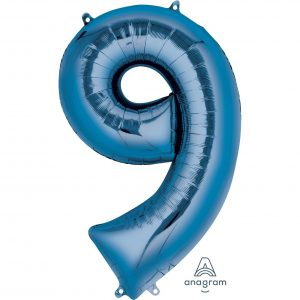 9 Blue Jumbo Foil Balloon