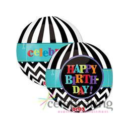 "Orbz Dancing Lines Happy Birthday 17"" x 18"" Printed Foil Balloon"