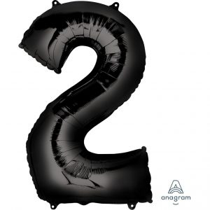2 Black Jumbo Foil Balloon