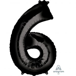 6 Black Jumbo Foil Balloon