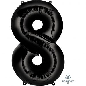 8 Black Jumbo Foil Balloon