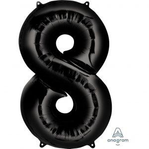 8 Black Jumbo Foil Balloon