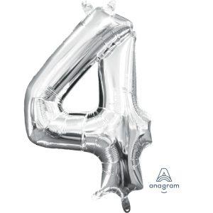 4 Silver Jumbo Foil Balloon