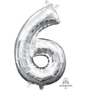 6 Silver Jumbo Foil Balloon