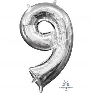 9 Silver Jumbo Foil Balloon