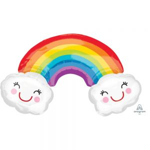 Rainbow with Clouds Foil Balloon