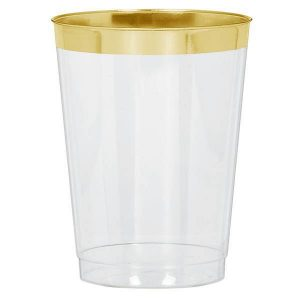 Premium Clear Tumblers With Gold Trim - 16 Pack