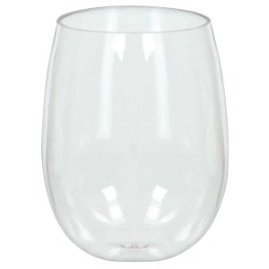 Clear Stemless Wine Glasses - 8 Pack