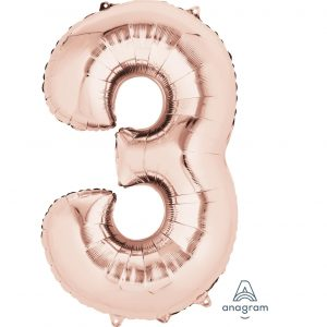 3 Rose Gold Jumbo Foil Balloon